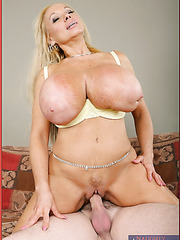 Busty blonde milf Echo Valley gets a nasty sperm on her huge boobs