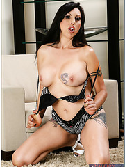 Fabulous dark haired angel Angela D'Angelo has a gentle shaved pussy