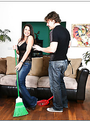Mrs. Weigel was cleaning up her house when Jerry decided to taste her pussy