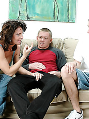 Nasty brunette milf Mrs. Deauxma sucks her neighbors' dicks and enjoys