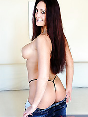 Horny brunette Cheyenne Hunter takes off her sexy black panties