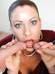Passionate girl Vanessa Videl takes two big cocks in the gentle mouth