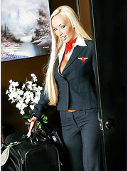 Gonzo action with glamorous blonde bombshell with huge breast Lichelle Marie