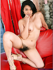 Asian chick Mika Tan takes off lingerie and gets her super hairy pussy fucked