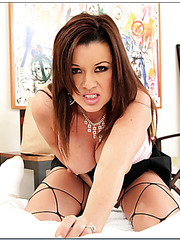 Hardcore milf vamp Raquel DeVine enjoys cock riding and facializing