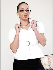 Playful and naughty office-style girl Veronica Jett tastes cum at the lunch break