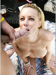 Wonderful woman Holly Sampson gets drops of cum on her sexy face