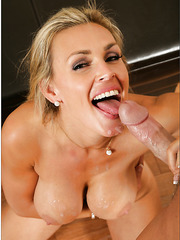 Awesome blonde milf with amazing boobs Tanya Tate strips and fucks very well
