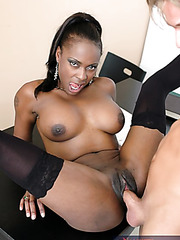 Hot Ebony Mrs. Midori in sexy stockings fucking hard with white cock