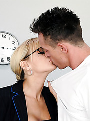 Married teacher Sandy Simmers enjoys fucking with this student because of his sizes