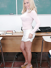 Nice blonde teacher Andrea Jaxxx seduces young student and fucks him hard