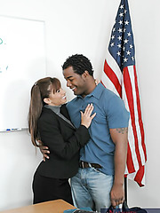 Delicious teacher with big tits Devon Michaels fucked by big black student's cock