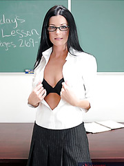 Hot brunette teacher India Summer sucks and rides right in the classroom