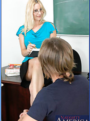 Smiling blonde teacher Celestia got a powerful student's cock today