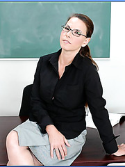 Naughty teacher Christie Lee and young student Selena Seele fucked by one dick