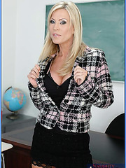 Big titted temptress Mrs. Amber Lynn takes off her clothes making student wild