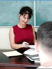Huge titted mature teacher Mrs. Maya Divine banged by a student's penis