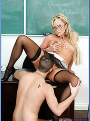 Appetizing and busty, of course, milf Mrs. Milan surprises the worst student
