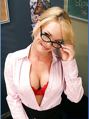 Exciting blonde teacher Tyann Mason presents student something more delicious