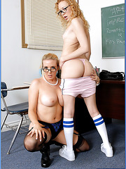 Mrs. Kara Nox invited her co-worker Mrs. Liv Wylder to fuck her student lover