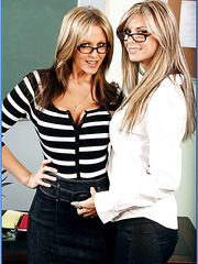 Topnotch blonde teachers Brooke Banner and Julia Ann fucked young student