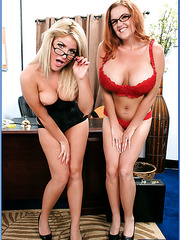 Busty sweeties Cali Chase and Kitti Lynxxx are hot lesbians but today they got a cock