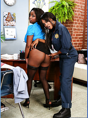 Ebony sweeties Ms. Panther and Vivica Coxx seduced white man with big cock