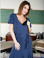 Crazy hot and passionate teacher Rae Rodgers enjoys wild fucking during the breaks