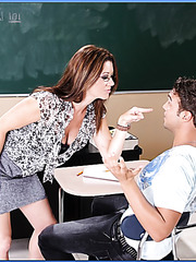 Provocative and busty teacher Raquel DeVine fucked in the classroom