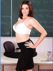 Ravishing milf teacher Charlie James surprises with her melons and fucks