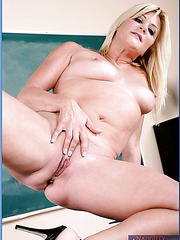 Mature blonde Ginger Lynn decided to check student's dick sizes