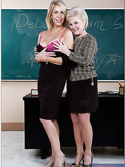 Milf teacher Erica Lauren and mature school director Mrs. Jewell fucked by a student