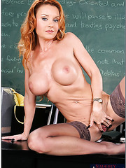 Redhead teacher Janet Mason enjoys to wear provocative lingerie