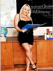 Blonde teacher Nikita Devine needs two cocks to get full satisfaction