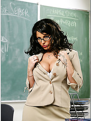 Flashy brunette teacher Sunshine Seiber with huge boobs and pierced nipples