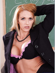 Roxanne Hall presents her teacher's pussy for a hot students dick