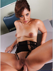 Horny teacher Mrs. Taylor Mayde was dreaming about young dick and she got it