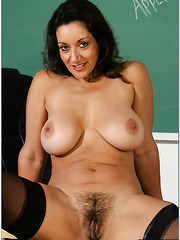 Experienced lady Persia Monir fucked in her hairy pussy right in the class