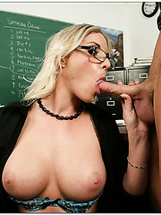Blonde teacher in sexy stockings Brittanie Lane presents unforgettable blowjobs