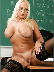 Fascinating blonde teacher Alexis Golden fucks like a prostitute in the classroom