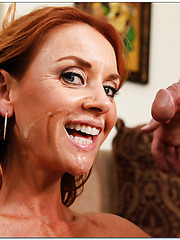 Mature redhead milf with a lot of sexual hunger Janet Mason enjoys neighbor's cock
