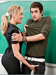 Full delight with horny blonde busty teacher Brandi Love for young student