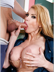 Ultra-glamorous bombshell with plump lips and huge breast Taylor Wane meets young guy