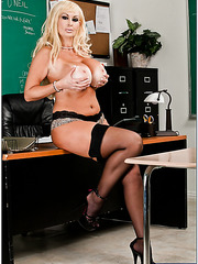 Provocative blonde milf with giant tits Brittany O'Neil seduces her bad student