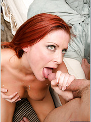 Redhead milf with hot temperament Lya Pink fucks with young man