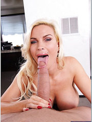 Captivating and exciting blonde woman Diamond Foxxx shows her charms in the action