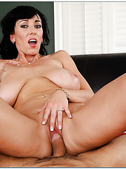 Milf with huge boobs and black hair Alia Janine becomes happy with cum on her face