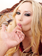 Blonde honey with delicious big boobs Aiden Starr invites cock in her trimmed pussy