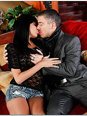 Brunette doll Anissa Kate takes her fucker's cock for a nasty blowjob