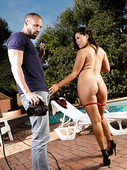 Hardcore outdoor scene with an elegant Asian dick sucker named London Keyes
